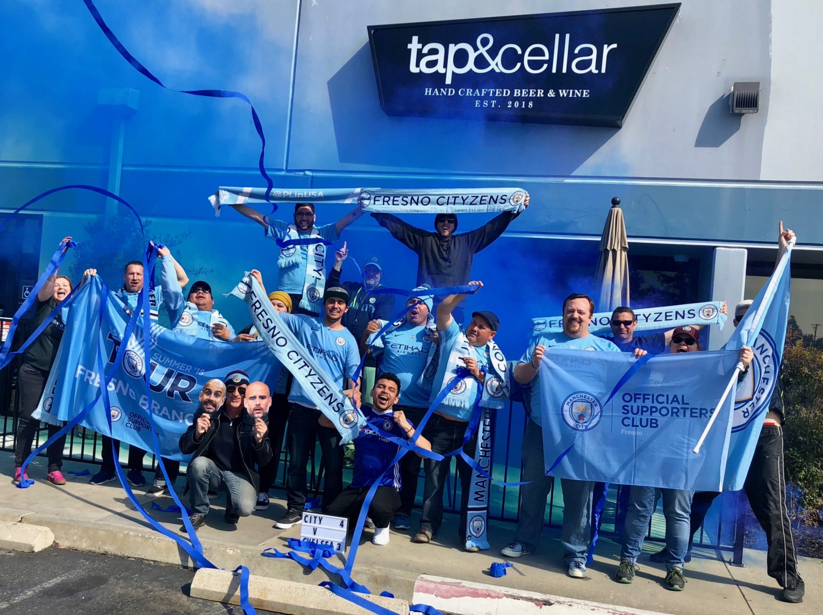 Fresno Cityzens celebrating Manchester City's Carabao Cup win over Chelsea